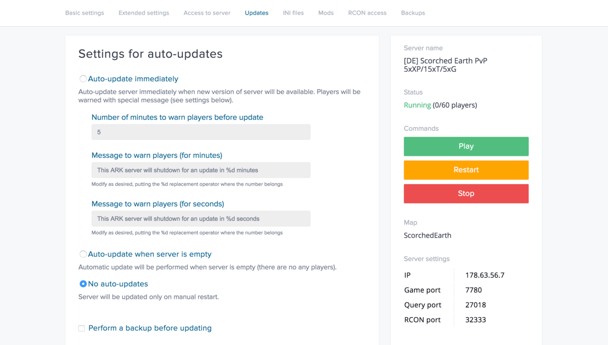 Updates management screenshot